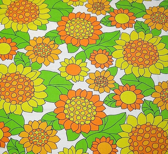 Two 1970s Mod Bedspreads Sun Flowers Pair Excellent Condition