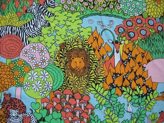 1970s Vintage Mod Pop Art Bed Sheet - Jungle Print