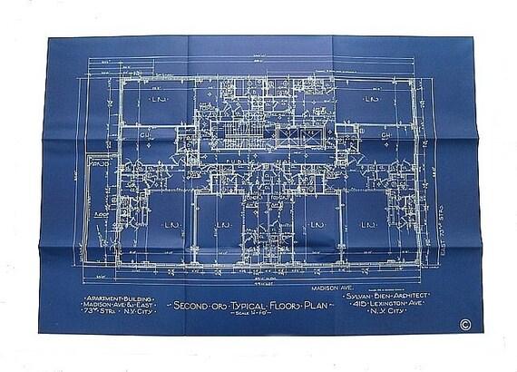 Vintage Blueprint New York Apartment Building - Second Floor