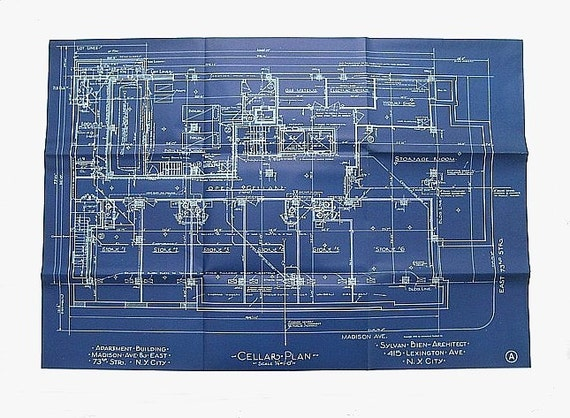 Vintage Blueprint New York Apartment Building Cellar