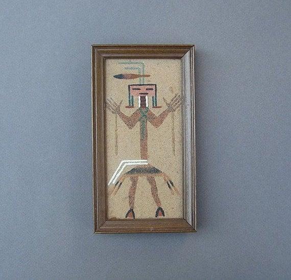 Vintage Navajo Sand Painting Healing God Signed Benally