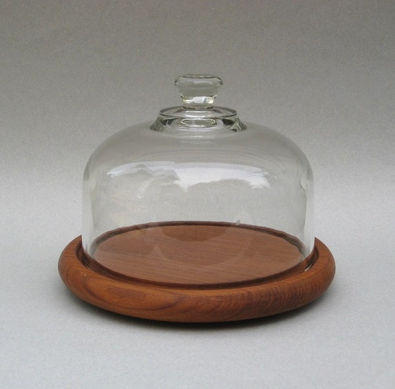Teak Cheese Board With Glass Dome Vintage Server By