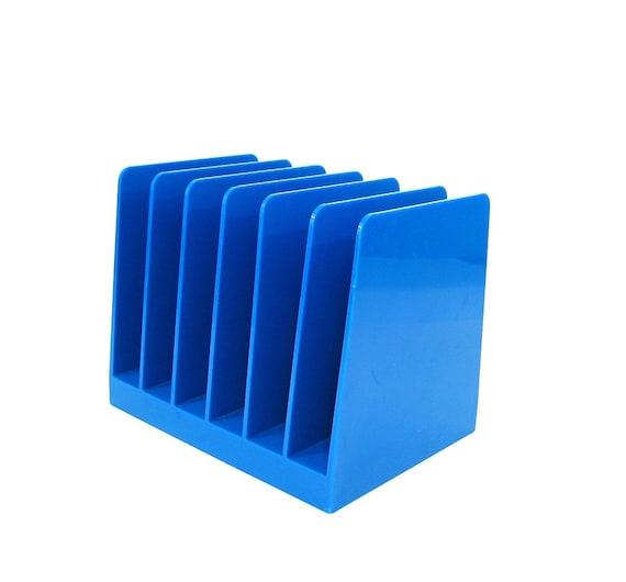 Vintage File Holder Blue Plastic Desk Organizer