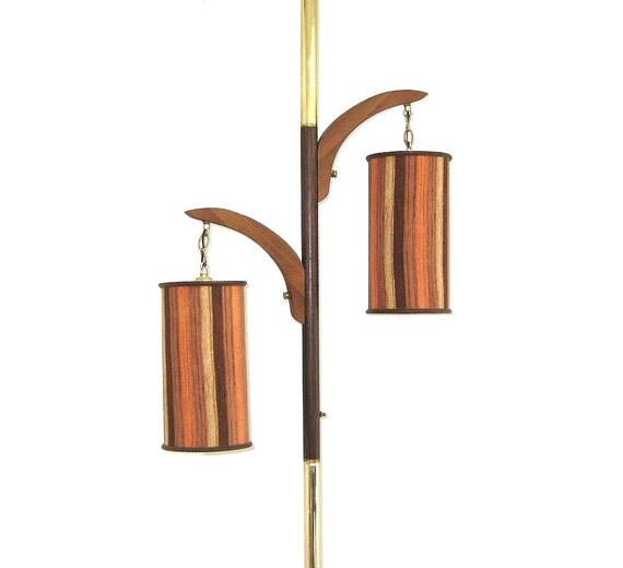 mid century modern lamp tension pole with original shades. Black Bedroom Furniture Sets. Home Design Ideas