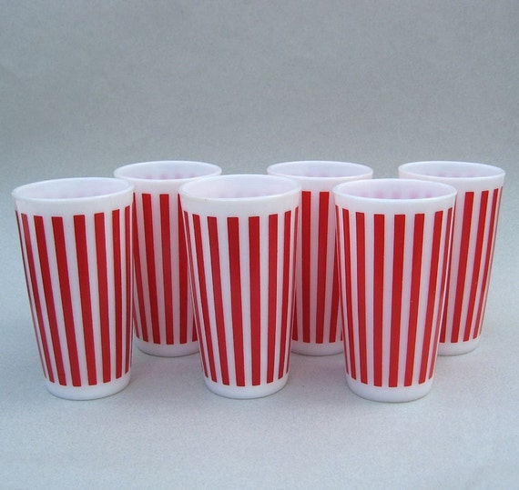 1950s Hazel Atlas Red Candy Stripe Drinking Glasses or Tumblers