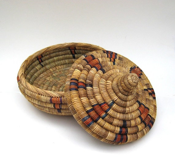 Vintage Coil Basket - Hand Woven with Lid