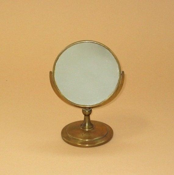 Small Antique Mirror On Stand Miniature Brass Vanity Mirror