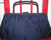 1960s Navy Blue Satin Purse