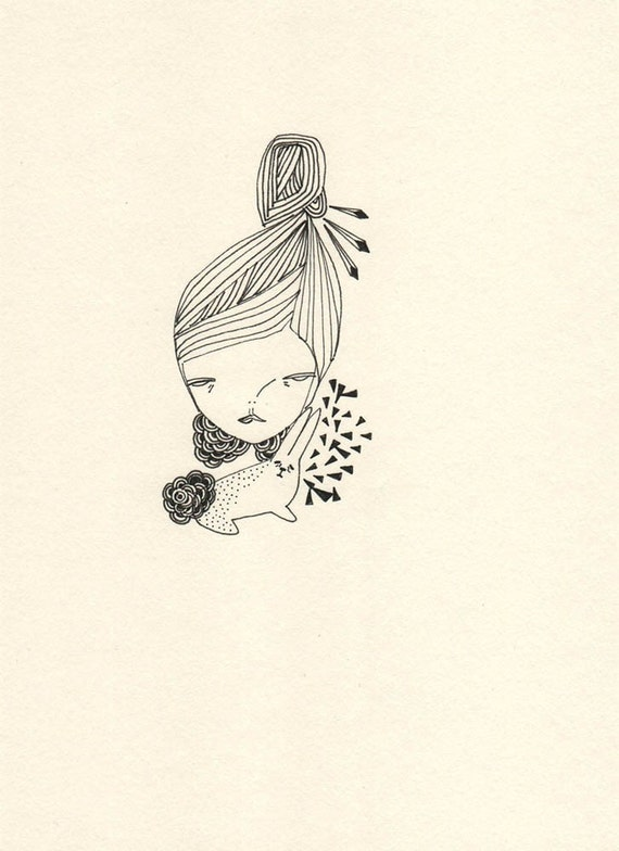 original illustration drawing ink on paper girl with bunny rabbit, a bunny someday