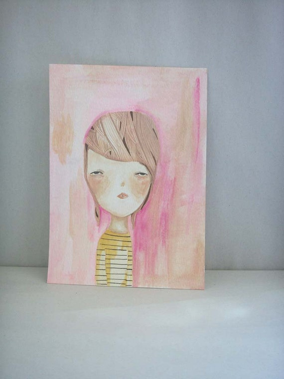 original painting on paper girl portrait-there was the distance