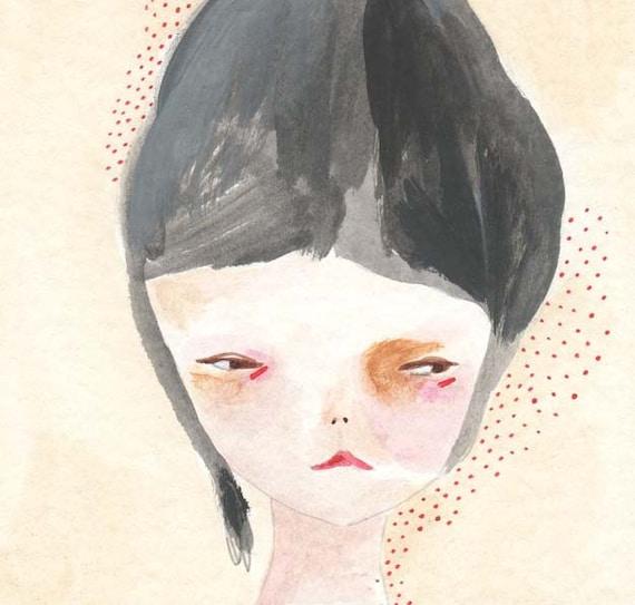 original painting illustration drawing paper-her suspicious nature