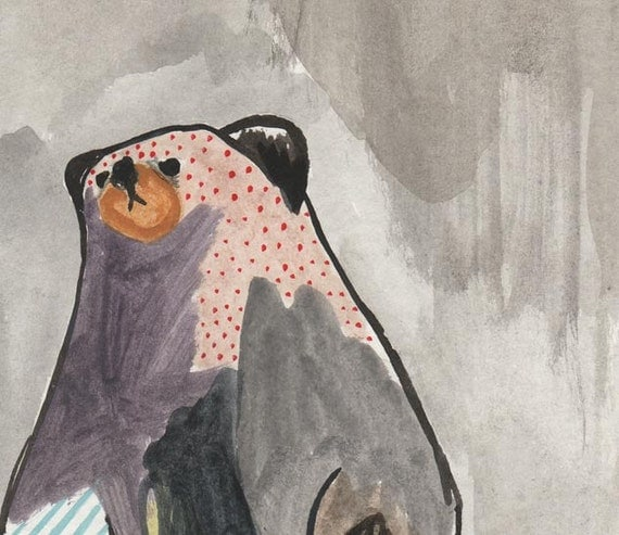 original painting illustration drawing paper bear art- only the bear knew