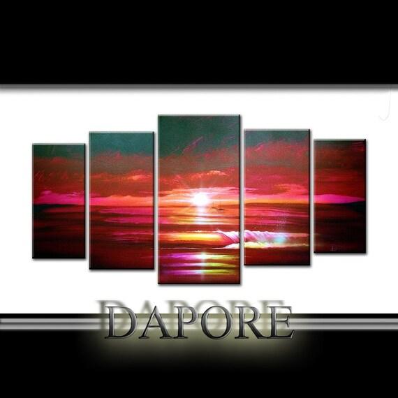 Buy  Burgundy Modern Large Abstract seascape made 2 order custom 5 canvas set