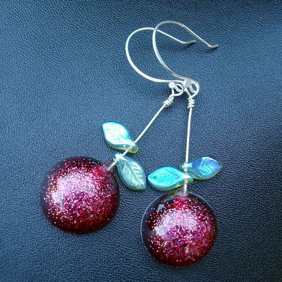 Cherry Bomb Resin and Sterling Earrings SALE