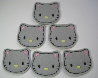 Grey Felt Embroidered Kitties - 298