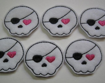 White  Felt Embroidered Patch Skulls - 237