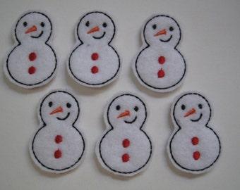White Felt Embroidered Snowmen