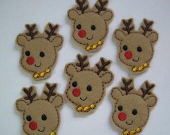 Tan Felt Embroidered Reindeer - Rudolph - 259