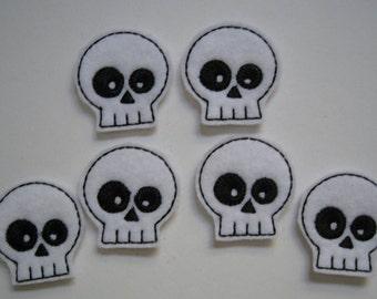 White  Felt Embroidered Skulls - 192