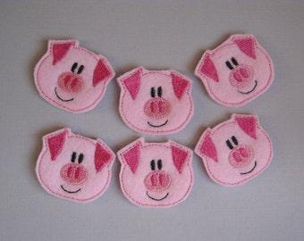 Light Pink Felt Embroidered Piggies - 212