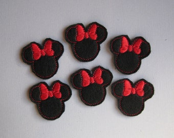Black Felt Embroidered Mouse Ears with Red Bows - 052