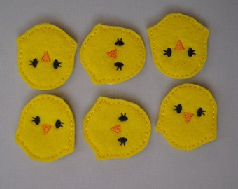 Bright Yellow Felt Embroidered  Baby Chicks - 040