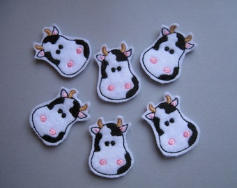 White with Black Felt Embroidered Cows - 005
