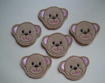 Tan Felt Embroidered Teddy Bears - 303