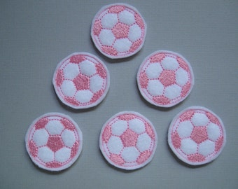 White & Pink Machine Felt Embroidered Soccer Balls - 093