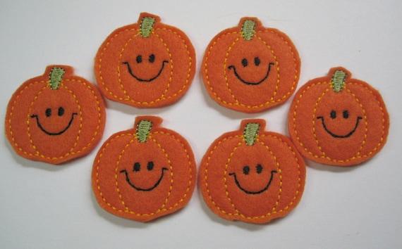 Orange Felt Embroidered Smiley Pumpkins - 200