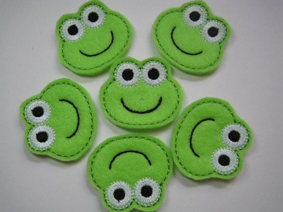 Bright Green Felt Embroidered Frogs - 057