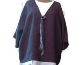 Paris Follies Top - Asymmetrical Overshirt - Pure Linen