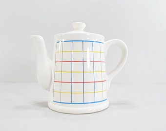 Vintage Retro Teapot, Modern Teapot, Mardi Gras Collection, Art Decor Teapot, Mod Teapot