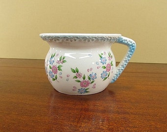 Vintage Flower Pot, Planter With Handle, Nursery Decor, Shabby Cottage Chic Planter