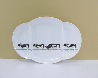 Vintage Cow Platter Serving Platter Cow Decorations Snack Tray