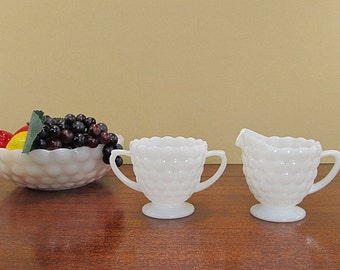 Vintage Milk Glass Serving Bowl, Sugar Bowl, Creamer, Small Serving Bowl Set, Milk Glass Bubble Pattern