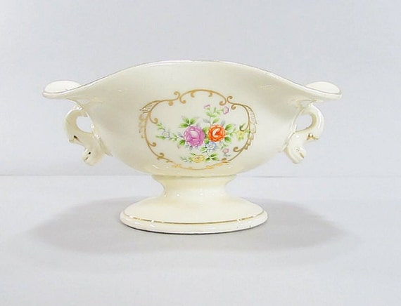 Vintage Hand Painted Serving Bowl, Divided Dish, Shabby Cottage Chic Dish