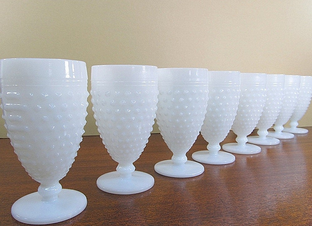 Hobnail Milk Glass Glasses