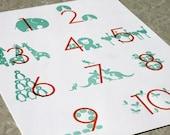 Letterpress Numbers Poster. Modern Design. Tangerine/Aqua. 11x14