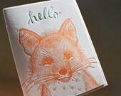 Letterpress Hello Card. Fox.