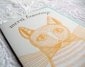Letterpress thank you card. Cat says Merci