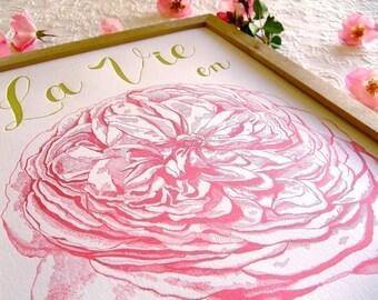 Letterpress La Vie en Rose Poster. 11 x 14.