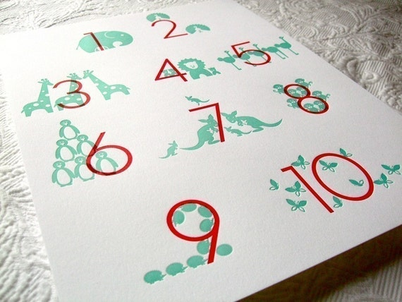 Letterpress Numbers Poster. Tulip\/Water. 11x14.