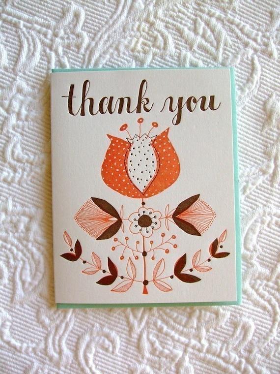 Letterpress Thank You Card. Large Botanic.