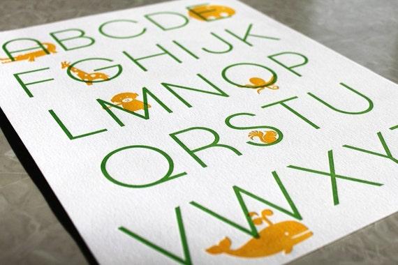 Letterpress Alphabet Poster. Modern Design. Apple/Marigold. 11 x 14