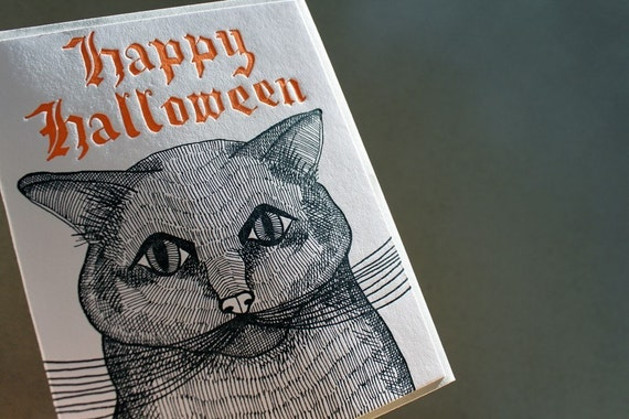 Letterpress Halloween Card. Black Cat.