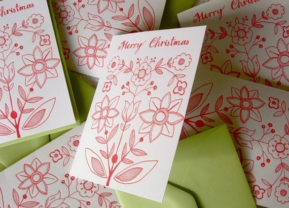 Letterpress Holiday Cards. Set of 6. Merry Christmas