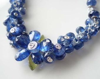 SALE  Romantic blue flower dream-------Kyanite,peridot, sterling silver