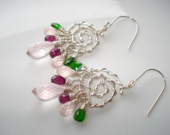 Roses bouquet earrings--,rose quartz,rhodolite garnet,diopside,sterling silver earrings