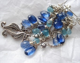 Ibiza beach sea treasure,--Kyanite,apatite,sterling silver earrings